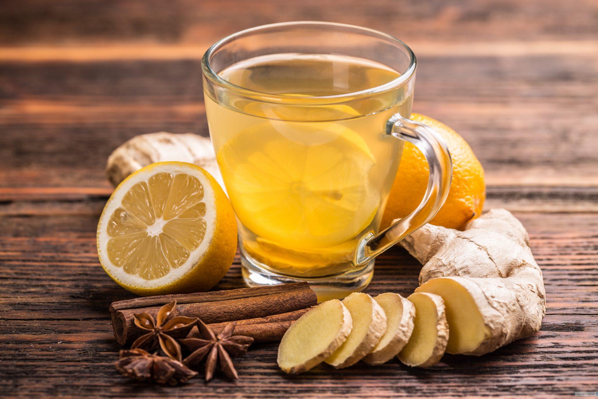 چای زنجبیل لیمو