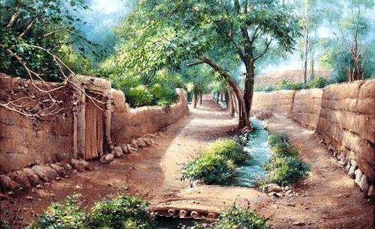 نقاشی کوچه باغ بهاری زیبا